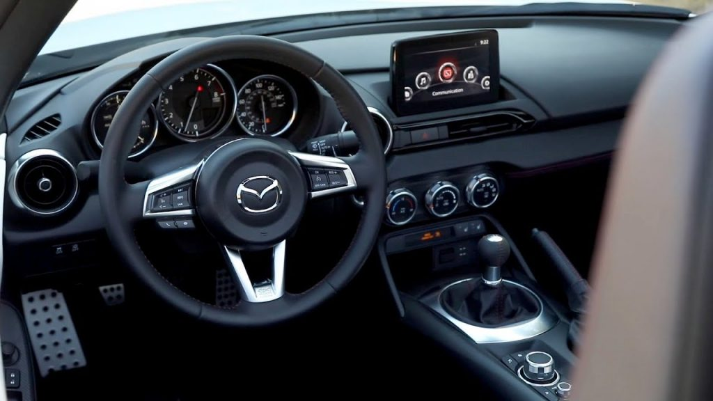 The interior of a Mazda Miata.